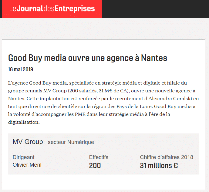 Good Buy media ouvre son agence à Nantes